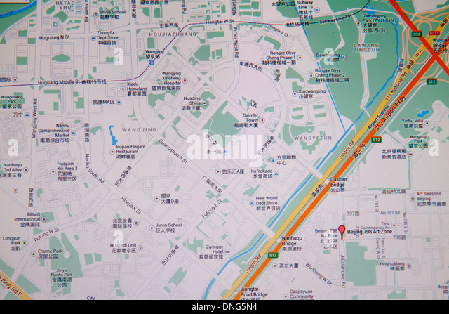 China Beijing Wangjing District Google map computer monitor street road detail Chinese characters hànzì - Stock Image