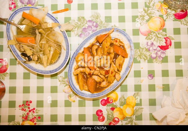 Dishes of Chinese food - Stock Image