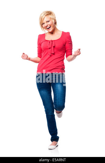 Ecstatic beautiful woman celebrating Debica, Poland - Stock Image