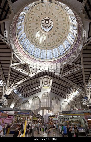 Central market hall , Mercado Central, Valencia, Spain  - Stock Image