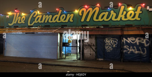 Camden Town Market at Night, North London, England, UK - Stock Image