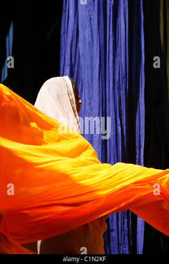 India, Rajasthan State, Cotton Strips Drying for Sari Fabrication - Stock Image