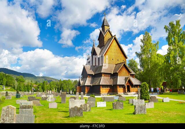 Stave Church Heddal, Sogn og Fjordane, Norway - Stock-Bilder
