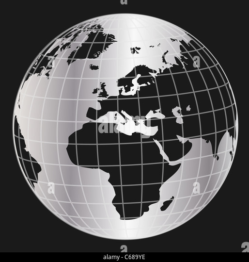 3D globe planet earth - Stock Image