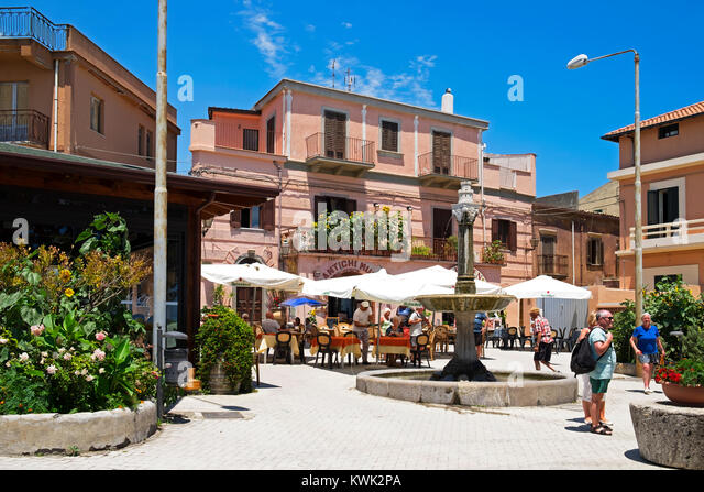 piazza in the mountain village of forza d'agro near messina on the island of sicily, italy. - Stock Image