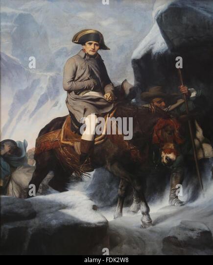 Napoleon Bonaparte (1769-1821). Bonaparte Crossing the Alps, 1850. By Paul Delaroche (1797-1856). Louvre Museum. - Stock-Bilder
