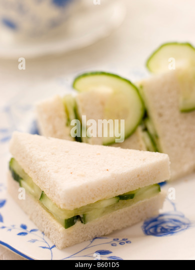 Cucumber Sandwich on White Bread with Afternoon tea - Stock Image