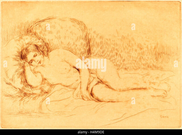 Auguste Renoir, Woman Reclining (Femme couchee), French, 1841-1919, 1906, color etching on japan paper - Stock-Bilder
