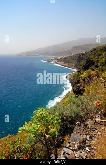 beautiful coast of La Palma Canary Islands Santa Cruz - Stock Image