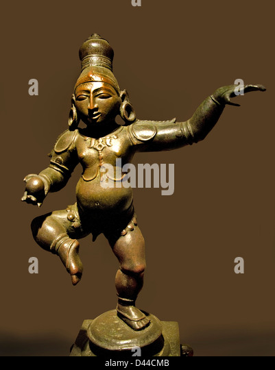 Balakrishna Dancing with butter ball 15 cent Krishna bronze Bellary Karnataka India Hindu - Stock Image