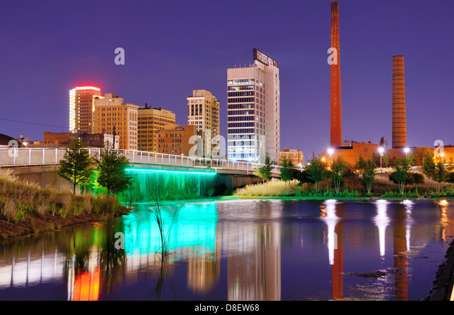 Skyline of Birmingham, Alabama at railroad park. - Stock Image