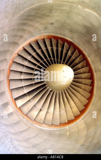 Centre of an aeroplane jet engine - Stock Image