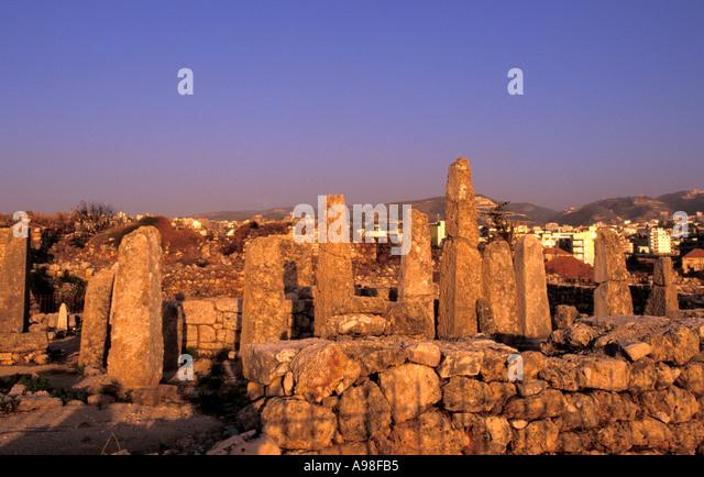Obelisk Temple, Byblos (Jbail), Lebanon. - Stock Image
