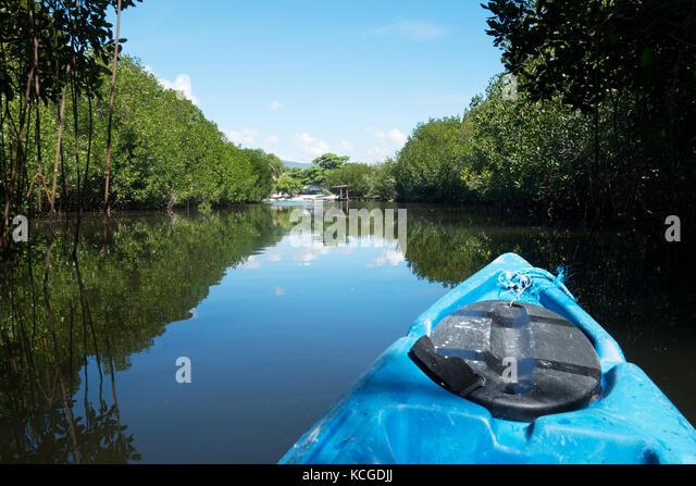 Canoeing on the waterways of Cebu, Philippines, Asia - Stock Image