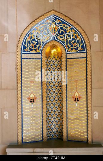 Elk207-1320v Oman, Muscat, Al Ghubrah, Sultan Qaboos Grand Mosque, minaret courtyard niche, contemporary style - Stock Image