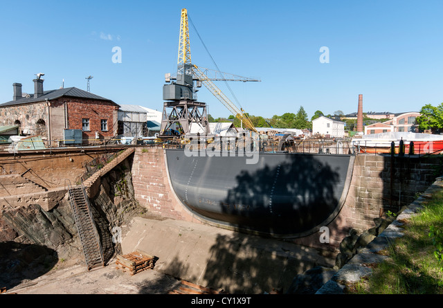 Dry dock gate at Suomenlinna maritime fortress, a 20 minute boat ride from Helsinki harbour, Finland - Stock Image