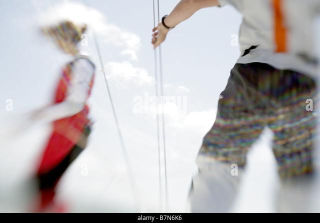 2 sailors sailing a yacht - Stock-Bilder