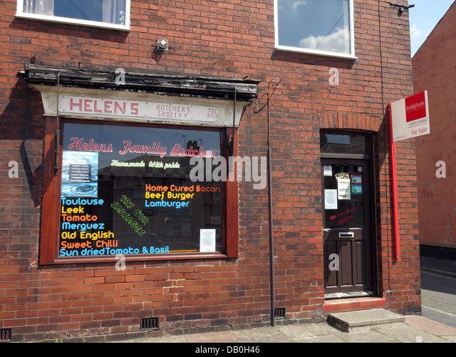 Another local butchers for sale, Warrington Cheshire, England UK - Stock Image