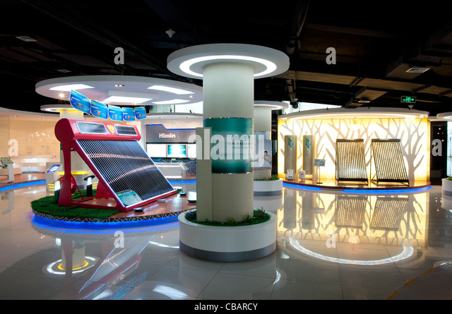 The show room of the Himin Solar Corporation, a Chinese factory leader in producing solar water heaters. - Stock Image
