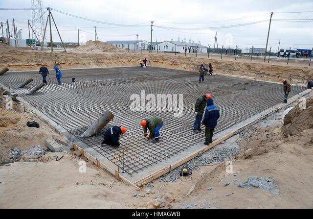 Kaliningrad Region, Russia. 6th Feb, 2017. The construction site of the Talakhovskaya Thermal Power Plant (TPP) - Stock-Bilder