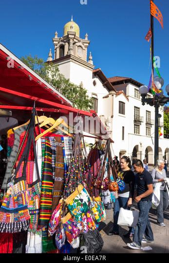 Los Angeles California CA L.A. Los Angeles Plaza Historic District Mexican heritage Olvera Street plaza La Plaza - Stock Image