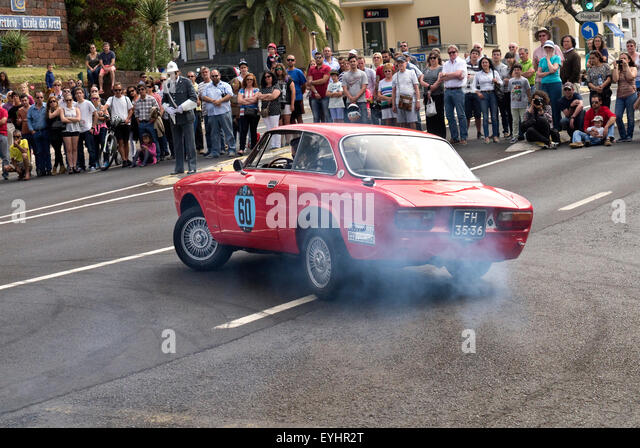 Classic Alfa Romeo GTA and GTV cars taking part in the Madeira Hill climb in Funcal - Stock Image