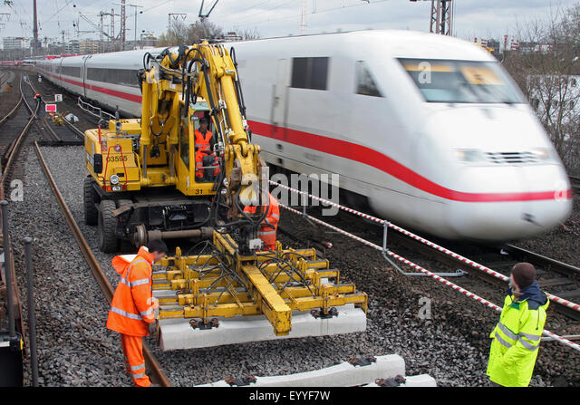 track works and Intercity-Express, Germany - Stock-Bilder