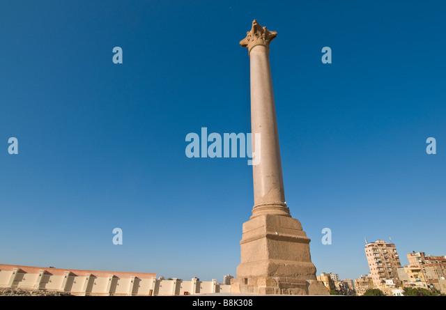 Pompeys Pillar alone granite shaft Alexandria Egypt historic monument tourist attraction iconic egyptian symbol - Stock Image