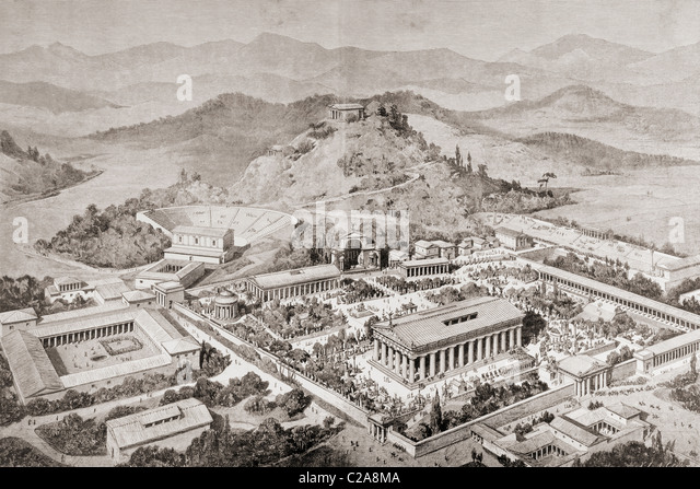 Artist's impression of Olympia, Greece, at the time of the ancient Olympic Games. - Stock Image