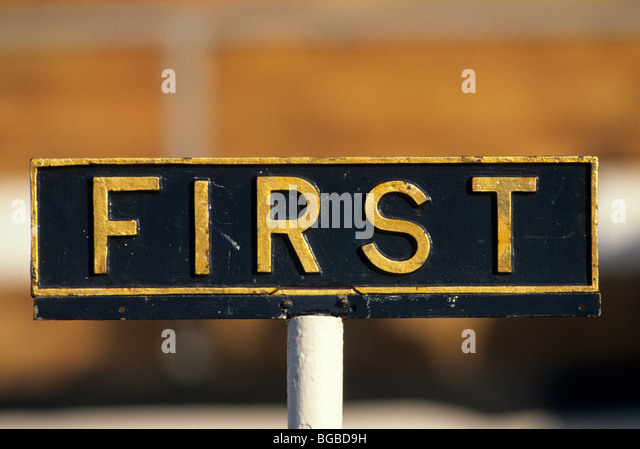 First place signpost - Stock Image