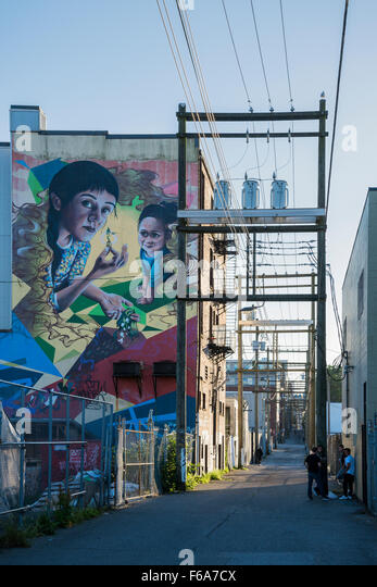 Soul Gardens mural, DTES, alley, Downtown Eastside,  Vancouver, British Columbia, Canada - Stock Image