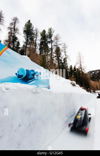 Europe, Switzerland, Graubunden, Engadine, St Moritz in winter, Celerina olympia bob run, cresta run - Stock Image