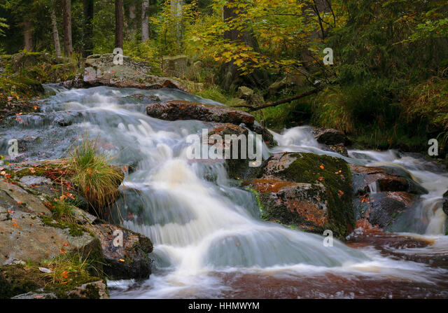 Small waterfall, River Ilse, Harz National Park, Saxony-Anhalt, Germany - Stock Image