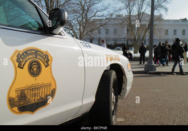 Washington DC 1600 Pennsylvania Avenue The White House President home presidency government north lawn Secret Service - Stock Image