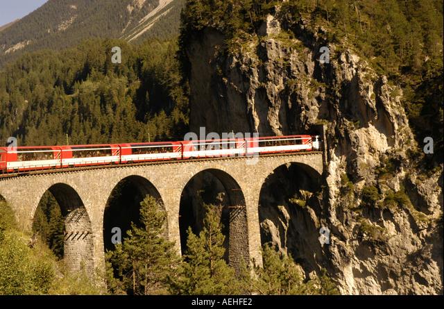 Switzerland Train over the Landwasser Viaduct - Stock Image