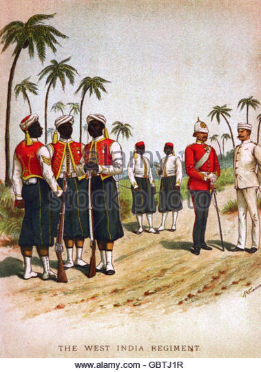 military, Great Britain, army, colonial troops, Carribean, infantry, West India Regiment, soldiers and officers, - Stock Image