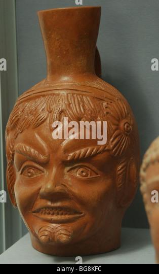 Greek mythology. Satyr head. Museum of Fine Arts. Budapest. Hungary. - Stock Image