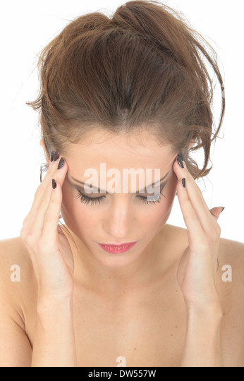 Stressed Tense Young Woman - Stock Image