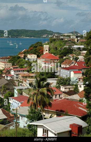 St George's grenada caribbean island skyline overview scenic landscape - Stock Image