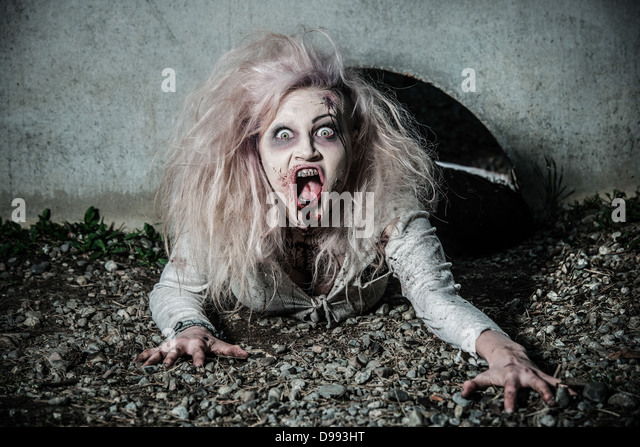 a scary and bloody zombie - Stock Image