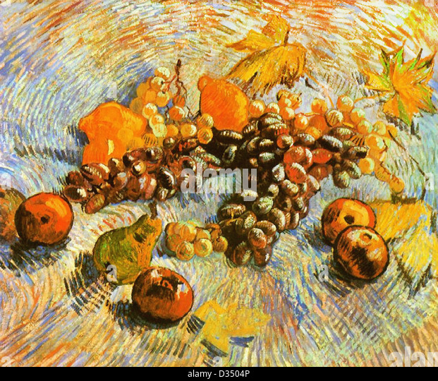 Vincent van Gogh, Still Life with Apples, Pears, Lemons and Grapes. 1887. Post-Impressionism. Oil on canvas. Paris, - Stock Image