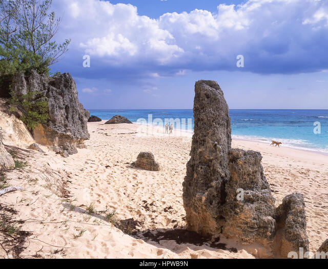 Beach view, Warwick Long Bay, Warwick Parish, Bermuda - Stock Image