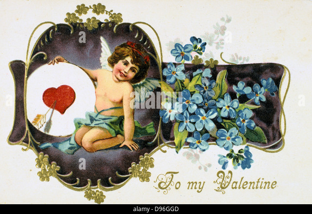 To My Valentine', American Valentine card, 1907.  Cupid holds a heart pierced by an arrow. The flowers are Forget - Stock Image