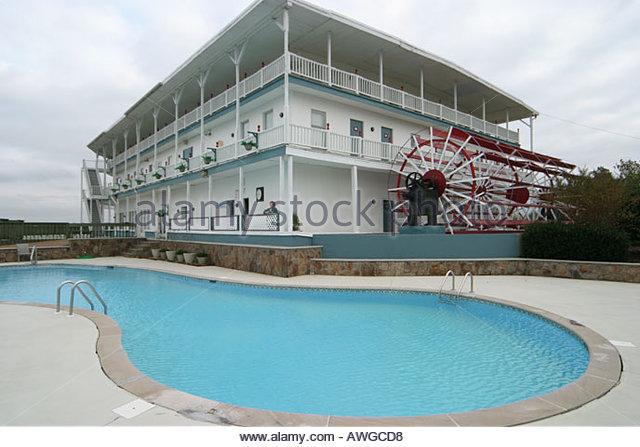 Alabama Cherokee County Alabama Belle Resort pool riverboat shaped building - Stock Image
