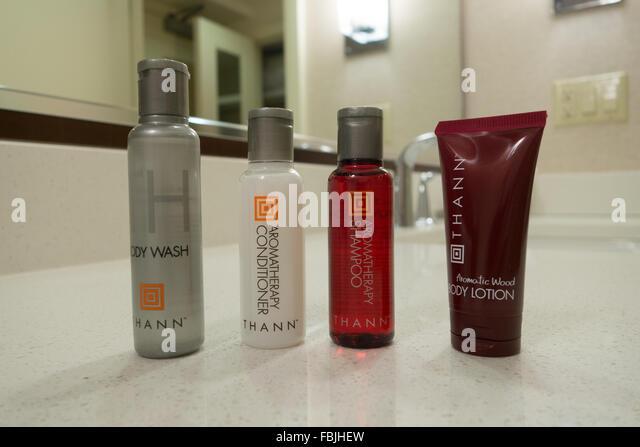 Hotel Guest Toiletries travel size Shampoo Conditioner Lotion Body Wash - Stock-Bilder