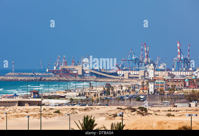 View of Ashdod seaport situated on Mediterranean sea in Israel. - Stock Image