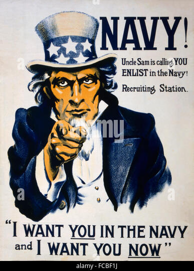 Uncle Sam recruiting poster for the US Navy in WWI, c.1917 - Stock Image