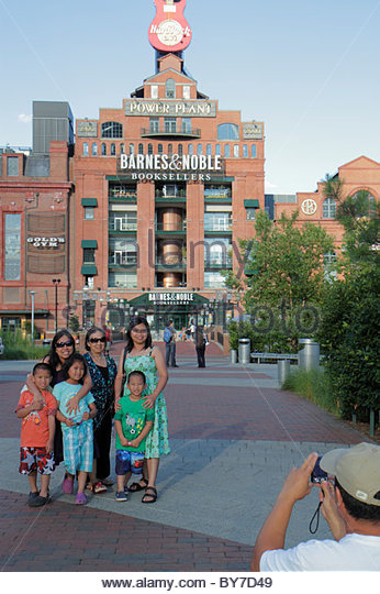 Baltimore Maryland Inner Harbor waterfront Power Plant building entertainment complex Hard Rock Cafe Barnes & - Stock Image