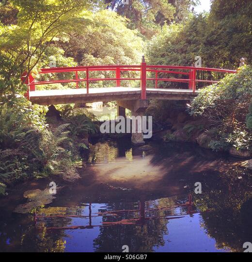Traditional bridge,Japanese Garden, autumn, Kubota Gardens, Seattle - Stock Image