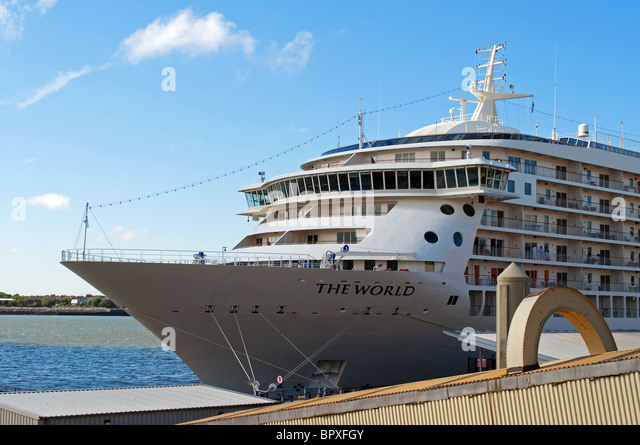 ' The World ' a luxury cruise liner in port at Liverpool, UK - Stock Image